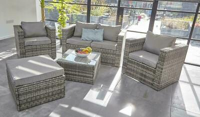 Vancouver  5 Seater Outdoor Patio Rattan Garden Furniture Chair Sofa Set & Cover