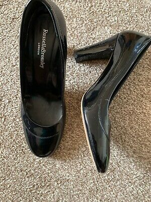 Ladies Russell And Bromley Black Patent Leather Court Shoes (Size EU 38)
