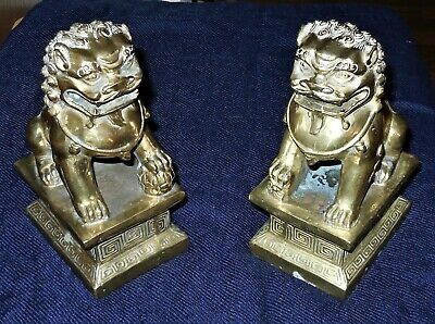 """VINTAGE Chinese Bronze Brass Guardian Foo Dog Lion Pair STATUES 6.5"""""""