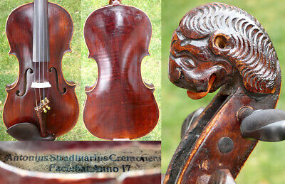 FINE 4/4 ANTIQUE BAROQUE VIOLIN w. LION HEAD lab: Stradivarius 19th FIDDLE 小提琴