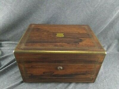 Antique 19th Century English Exotic Wood & Brass Lapdesk With Secret Drawer