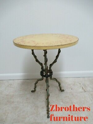 Patina Made In Italy Wrought Iron French Regency Lamp End Table Pedestal Italian