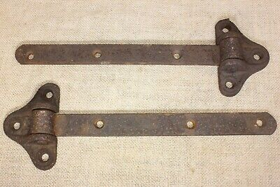"2 old Strap Plate Hinges 12 1/2"" tobacco Shed Barn vintage textured rustic iron"