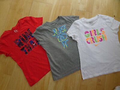 NIKE girls 3 PACK t shirt tops AGE 7 - 8 YEARS EXCELLENT COND