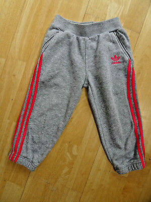 ADIDAS girls grey pink tracksuit trousers joggers AGE 18 - 24 MONTHS 92