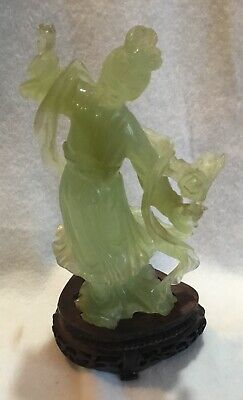 *NR* Vintage or Antique Chinese Jade Jadeite Figurine Of a Beauty on Wood Stand