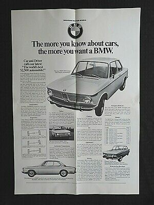 """1967 BMW 1600 1800 2000 TI TISA TILUX C CS"" FOLD-OUT POSTER BROCHURE with price"