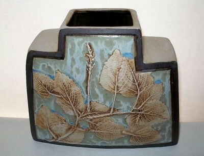 Mind Bending ARTS CRAFTS style SIGNED Art POTTERY VASE Incredible RAISED LEAVES