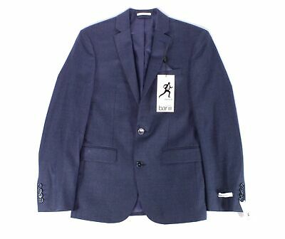 Bar III Mens Blue Size 38 Short Slim Fit Two Button Wool Blazer $425 #044