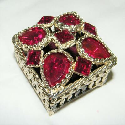 Vintage Florenza Trinket Box with Large Red Glass Stones