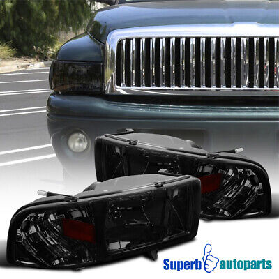 For 1994-2001 Dodge Ram 1500/2500/3500 1PC Projector Headlights Smoke Lamps