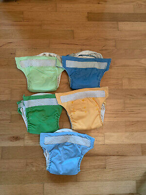 5 Bumgenius Cloth Diapers One Size Fits Most Velcro with Cloth Inserts