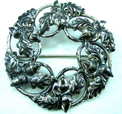Vintage Danecraft Sterling Silver patent pending Leaf Wreath Pin Brooch