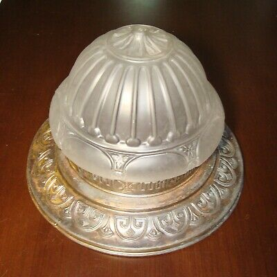 Reclaimed Antique Art Nouveau Pressed Glass & tin Ceiling flush fixture 16' diam