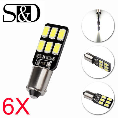 6X BA9S T4W H6W LED Canbus Error Free 12SMD Car Side Dome Light White Bulbs 12V