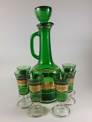 Vintage Italy Emerald Green Glass Gold Decanter Set