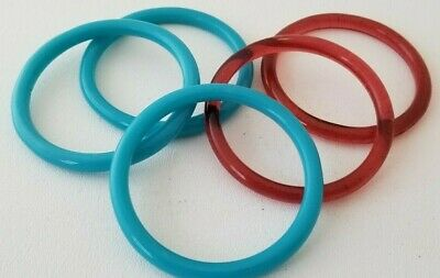 5 Vintage GLASS DRAPERY Tie-Back RINGS 3 Blue 2 Red LARGE