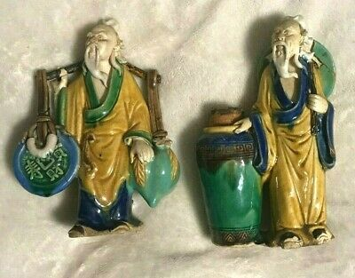 vintage (LOT OF 2) CERAMIC CHINESE FIGURES china OLD ORIENTAL MEN STATUE antique
