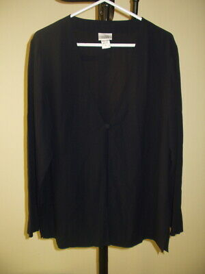 """Eileen Fisher Blue/Black """"Ink""""  Washable Silk Layering Cardigan -Top~Large / XL"""