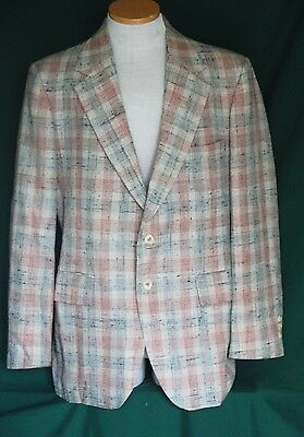 Vintage Rockabilly Wool Plaid Sports Coat Jacket Ricardo Josephi Rome C44