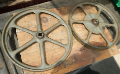 "Early Delta Milwaukee Rockwell 14"" Band Saw Upper And Lower Cast Iron Wheels"