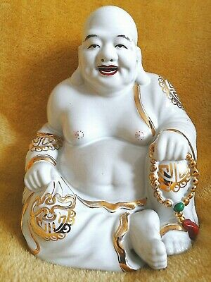 Antique Chinese Buddha Porcelain Laughing Famille Rose Gold Gilt