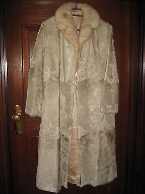 WOMEN'S FUR WINTER COAT/BABY GOAT and MINK/CREAM COLOUR/SIZE 12/AS NEW CONDITION