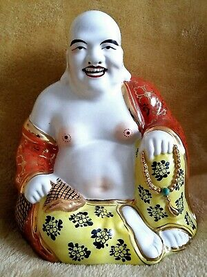 """Large 8.5"""" Old Buddha Chinese Porcelain Happy Laughing Gilt Famille Rose Coral"""