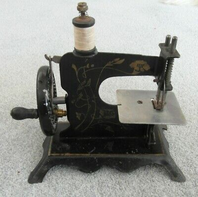 Victorian Cast Iron Gilt Decorated Antique Miniature Sewing Machine Baby Paris