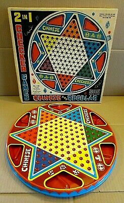 Old 1960's Ohio Art USA 2 in 1 Chinese Regular Checkers Game Board w Box FREE SH