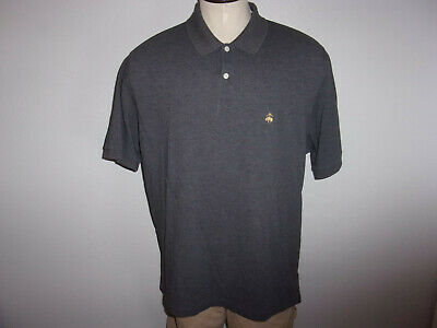 Men's Brooks Brothers Performance Knit sz XL Gray SS Embroidered Polo Shirt