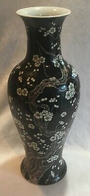 Large Vintage or Antique Chinese Export Porcelain Famille Noir Vase Cherry Bloss