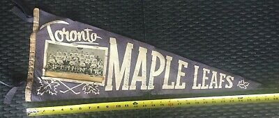 OLD VINTAGE 1960's NHL HOCKEY PENNANT - TORONTO MAPLE LEAFS PUNCH IMLACH SIGNED