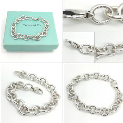 AUTHENTIC Stunning Solid Silver Tiffany & Co Large Link Starter Charm Bracelet