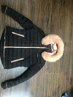 Girl's Mckenzie Black Jacket With Pink Faux Fur Hood Age 12-13 Years