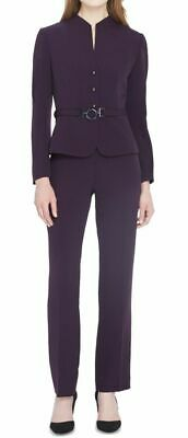 Tahari By ASL Women's Jacket Pants Purple Size 4 Pant Suit Set $280 #092