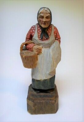 "Antique CARVED WOOD FIGURINE - WOMAN with BASKET Hand Painted Folk Art 3.75"" T"