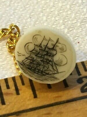 Vtg Scrimshaw Carved Pin Brooch Tie Tack Hat Tall Sailing Ship Faux W Chain