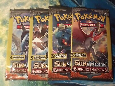 X4 Sun & Moon: Burning Shadows**3 Card** Sealed Booster Pack - POKEMON - TCG