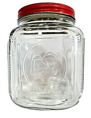 Coca Cola Woman Drinking Coke Embossed Clear Glass Cookie Jar Red Lid Canister