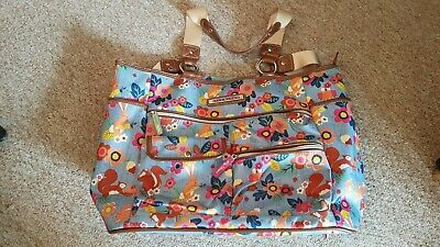 Lily Bloom Squirrel Blue & Brown Nature Large Overnight Travel Tote Bag
