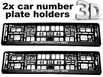 2 x 3D CAR Number Plate Surround Holder Frames BEST will FIT any PORSCHE