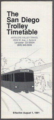 San Diego Trolley Time Table South Line 8//28//95 East Line