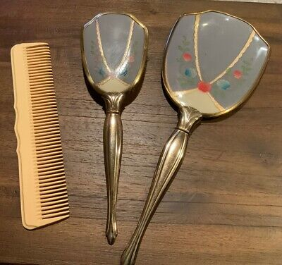 Vintage Antique Vanity Set - Mirror And Brush Set With Comb Nice!!