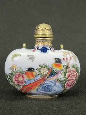 Fine Chinese Flower Bird Hand Painted Copper Enamel Snuff Bottle