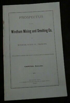 ANTIQUE MINING PROSPECTUS: WINDHAM MINING and SMELTING COMPANY, OURAY, CO 1881