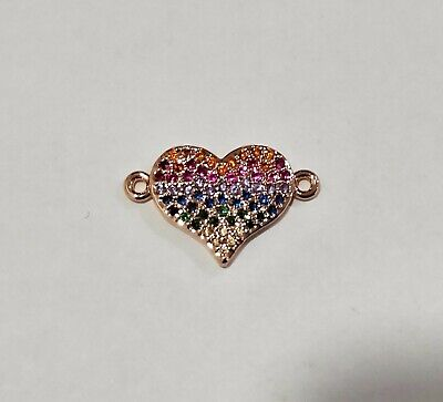 Multicolor Zircon Gemstones Pave Heart Bracelet Connector Charm Beads Rose Gold