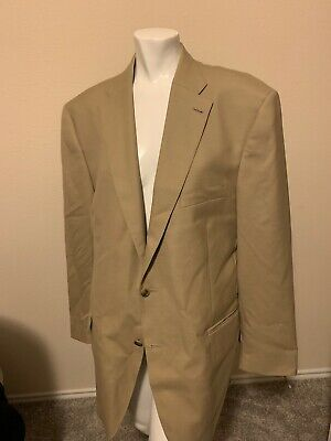 Peter Millar Mens Wool Two Button Double Vent Tan Blazer 44T