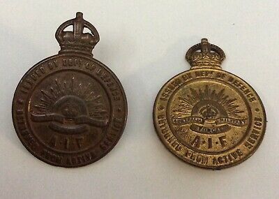 AUSTRALIAN WW1 RETURN FROM ACTIVE SERVICE BADGES x 2 LUG AND BROOCH MOUNTS