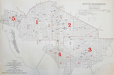 1880 Greene Large Antique Map Location of The Public Schools in Washington DC